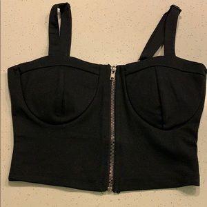 Black bustier crop top with front zipper
